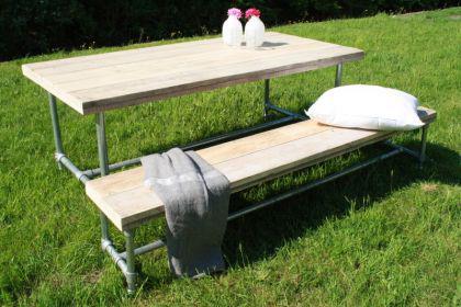 Tisch mit Rollen im Industriedesign, Esstisch mit Tischbeinen aus Metall, Länge 240 cm - Vorschau 3