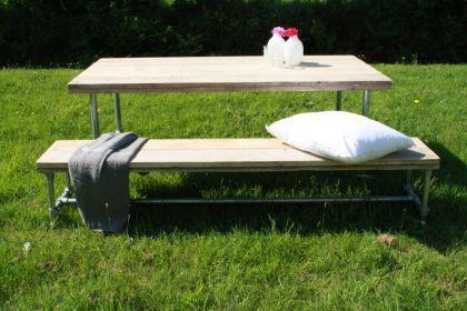 Tisch mit Rollen im Industriedesign, Esstisch mit Tischbeinen aus Metall, Länge 220 cm - Vorschau 4