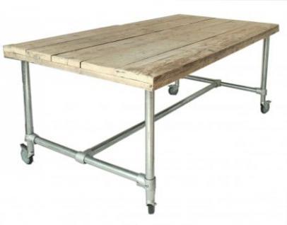 Tisch mit Rollen im Industriedesign, Esstisch mit Tischbeinen aus Metall, Länge 180 cm
