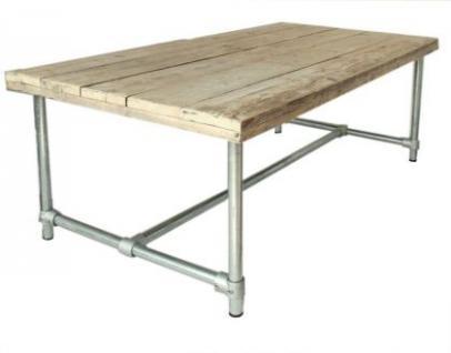Esstisch im Industriedesign, Tisch mit Tischbeinen aus Metall, Länge 200 cm