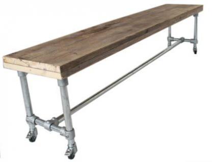 Tisch mit Rollen im Industriedesign, Esstisch mit Tischbeinen aus Metall, Länge 220 cm - Vorschau 2