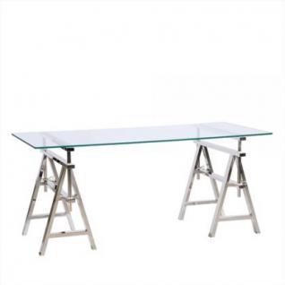 Höhenverstellbarer Schreibtisch aus verchromten Metall und Glas, 190 cm Länge