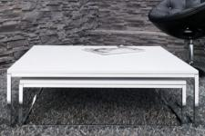 moderner Couchtisch, 2er Set in weiß
