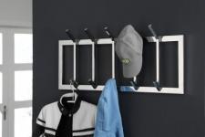 Wandgarderobe verchromt, moderne Garderobe mit 10 Haken, Breite 90 cm