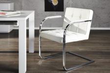 Freischwinger / Konferenzstuhl / Besucherstuhl mit Kunstleder bezogen, Farbe weiß
