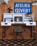 Industriedesign Schreibtisch aus Holz und Metallgestell, 140 cm Länge