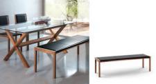 4er Sitzbank aus Massivholz und Leder, Walnuss, Länge 200 cm