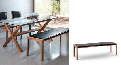3er sitzbank aus massivholz und leder walnuss l nge 155. Black Bedroom Furniture Sets. Home Design Ideas