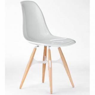 Designstuhl in vier Farben aus Polycarbonat und Holz