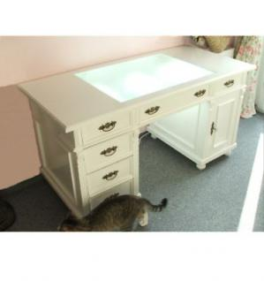 Schreibtisch Arbeitstisch Computertisch PC- Tisch Holz weiss massiv Landhausstil