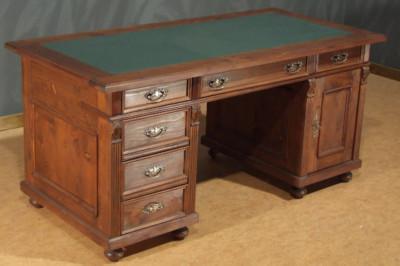 Schreibtisch PC Schreibtisch freistehend mit Ledereinsatz Landhausstil