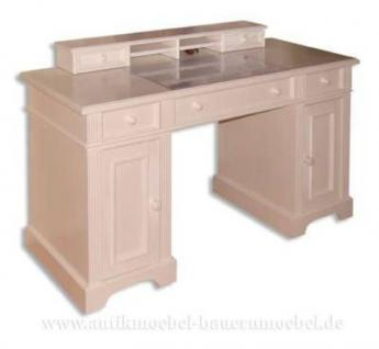 Schreibtisch mit Aufsatz weiß Landhausstil - Vorschau