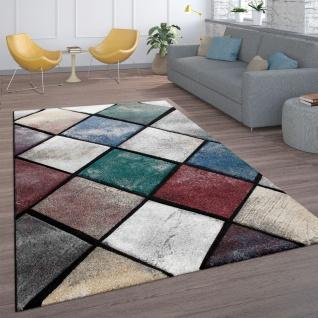 Teppich, Kurzflor-Teppich Für Wohnzimmer, Modernes Rauten-Muster, In Bunt