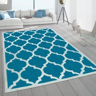 Wohnzimmer-Teppich, Designer-Kurzflor Mit Orientalisches Muster In Türkis Weiß - Vorschau 1
