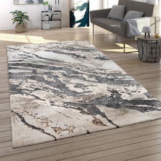 Teppich Wohnzimmer Kurzflor 3D Effekt Abstraktes Muster Stein Optik Beige Braun