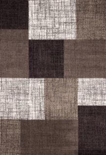 Designer Teppich Kurzflor Karo Muster Braun Creme Meliert - Vorschau 4