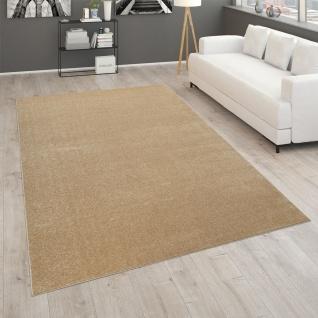 Teppich Für Wohnzimmer Einfarbig Kurzflor Schlicht Und Modern, In Gold