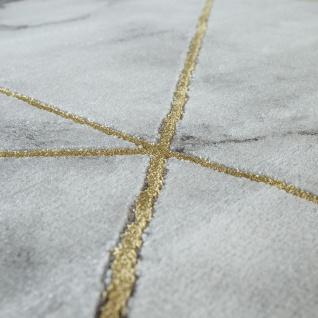 Wohnzimmer Teppich Grau Gold Marmor Design 3-D Muster Kurzflor Robust Weich - Vorschau 3