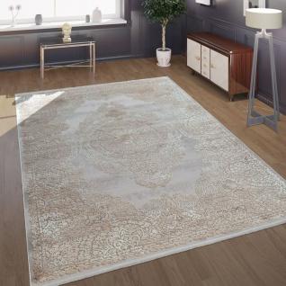 Morderner Kurzflor Wohnzimmer Teppich Antik Ornamente Orient Muster Beige Creme