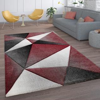 Teppich Wohnzimmer Kurzflor Modernes Geometrisches Muster Mit 3D Optik Grau Rot