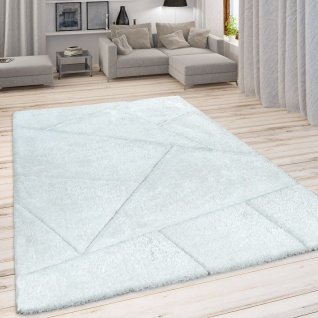 Hochflor Teppich Wohnzimmer Weiß Shaggy Weich Flauschig Muster 3-D Design Robust