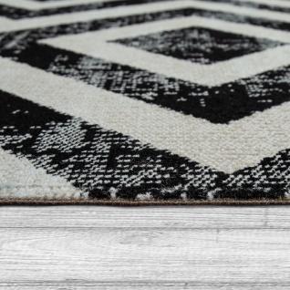 Teppich Schwarz Weiß Balkon Terrasse Outdoor Skandi-Design Rauten-Muster Robust - Vorschau 2