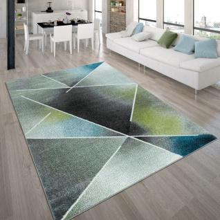 Wohnzimmer-Teppich, Kurzflor-Teppich Mit Dreieck-Muster Und Farbverlauf, In Bunt
