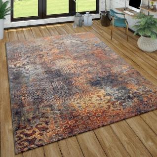 Teppich Wohnzimmer Vintage Design Abstraktes Ethno Muster Kurzflor, Mehrfarbig