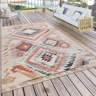Outdoor Teppich Küchenteppich Balkon Terrasse Ethno Muster Rot Beige Orange
