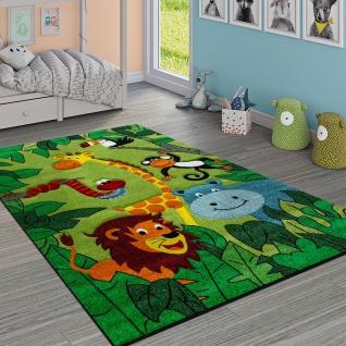 Kinderteppich Kinderzimmer Dschungel Tiere Giraffe Löwe Affe Nilpferd Grün