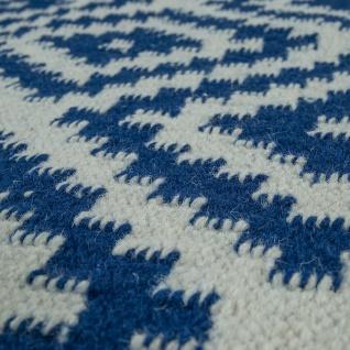 Teppich Modern Marokkanische Muster Handgewebt Skandi Rauten Fransen Blau Weiß - Vorschau 3