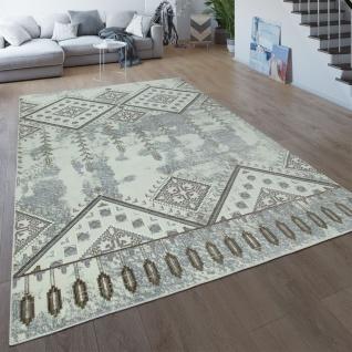 Orient Teppich Creme Beige Wohnzimmer Kurzflor Ethno Design Abstrakt Boho Muster