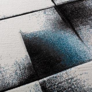 Designer Teppich Wohnzimmer Teppiche Kurzflor Meliert Türkis Grau Creme Schwarz - Vorschau 3
