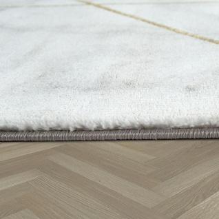 Wohnzimmer Teppich Grau Gold Marmor Design 3-D Muster Kurzflor Robust Weich - Vorschau 2