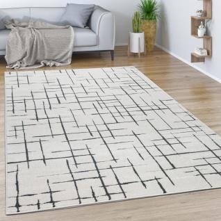 Teppich Wohnzimmer Kurzflor Mit Modernem Abstrakten Muster Geometrisch Creme Grau