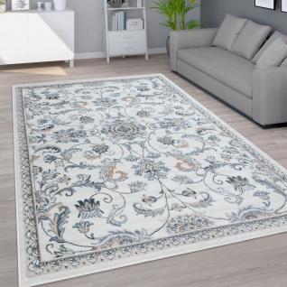 Teppich Wohnzimmer Kurzflor Orientalisches Muster Ornamente Modern Beige Blau