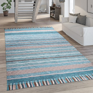 Teppich Wohnzimmer Moderne Streifen Optik Mit Fransen Baumwolle Webteppich Grün
