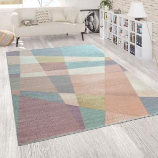 Kurzflor Teppich Wohnzimmer Bunt Pastellfarben Muster Abstrakt Linien Design