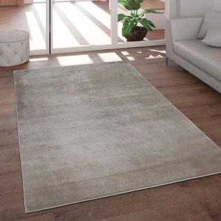 Teppich Wohnzimmer Kurzflor Modern Glanz Schimmer Effekt Weich Einfarbig Beige