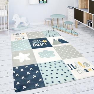 Kinderteppich Teppich Kinderzimmer Spielmatte Rauten Sterne Grau Blau Weiß