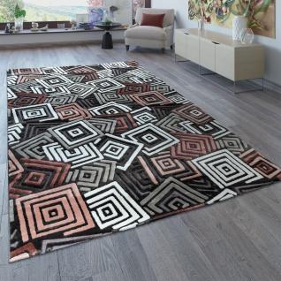Kurzflor Teppich Wohnzimmer Grau Weiß Rosa Karo Muster Abstraktes Design 3-D