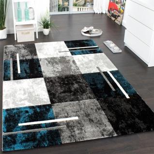 Designer Teppich Modern mit Konturenschnitt Karo Muster Marmor Optik Grau Türkis