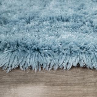 Hochflor Teppich Wohnzimmer Shaggy Pastell Einfarbig Weich Flauschig Türkis - Vorschau 5