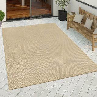 In- & Outdoor Teppich Küchenteppich Einfarbiges Design Sisal Optik Modern Beige