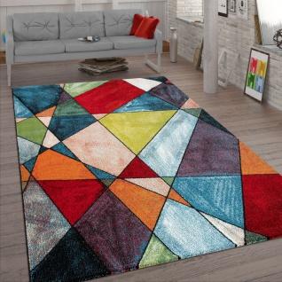 Wohnzimmer-Teppich, Kurzflor-Teppich Mit Geometrischem 3-D-Design, In Bunt
