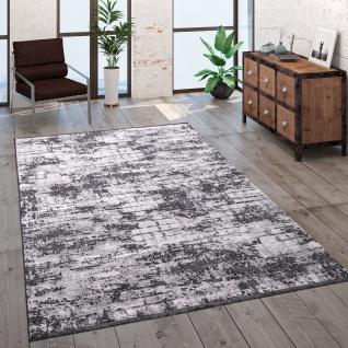 Teppich Wohnzimmer Kurzflor Modern Vintage Abstraktes Muster Glanz Optik Grau