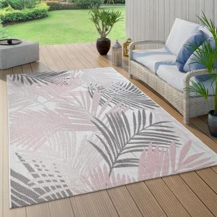 In- & Outdoor-Teppich Für Balkon Und Terrasse, Mit Palmen-Muster, In Rosa