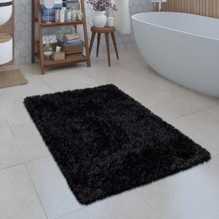 Moderne Badematte Badezimmer Teppich Shaggy Kuschelig Weich Einfarbig Schwarz