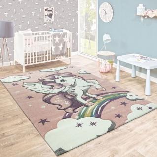 Kinderteppich Kinderzimmer Konturenschnitt Regenbogen Einhorn Pastell Rosa