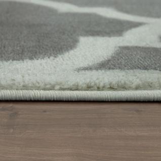 Designer Teppich Marokkanisches Muster Kurzflorteppich Modern Trend Grau Weiß - Vorschau 2
